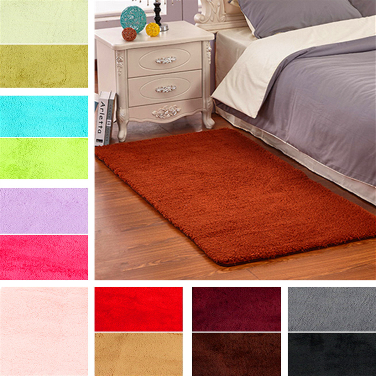 60 X 120cm Anti-skid Shaggy Fluffy Area Rug Bedroom Carpet