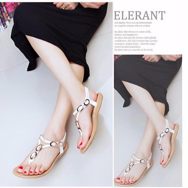 Women Summer Flats Beach Soft Flip Flops Outdoor Fashion Slip On Flats Sandals Shoes