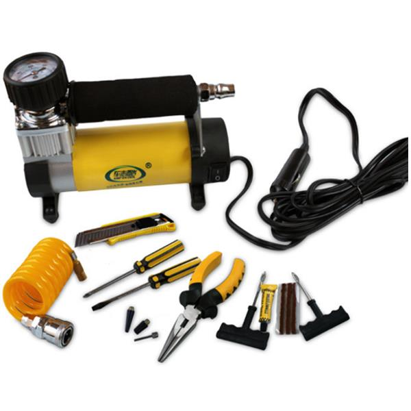 Buy 12V Portable Metal Car Tire Pump Emergency Inflatable With Light Electric Repairing Tool