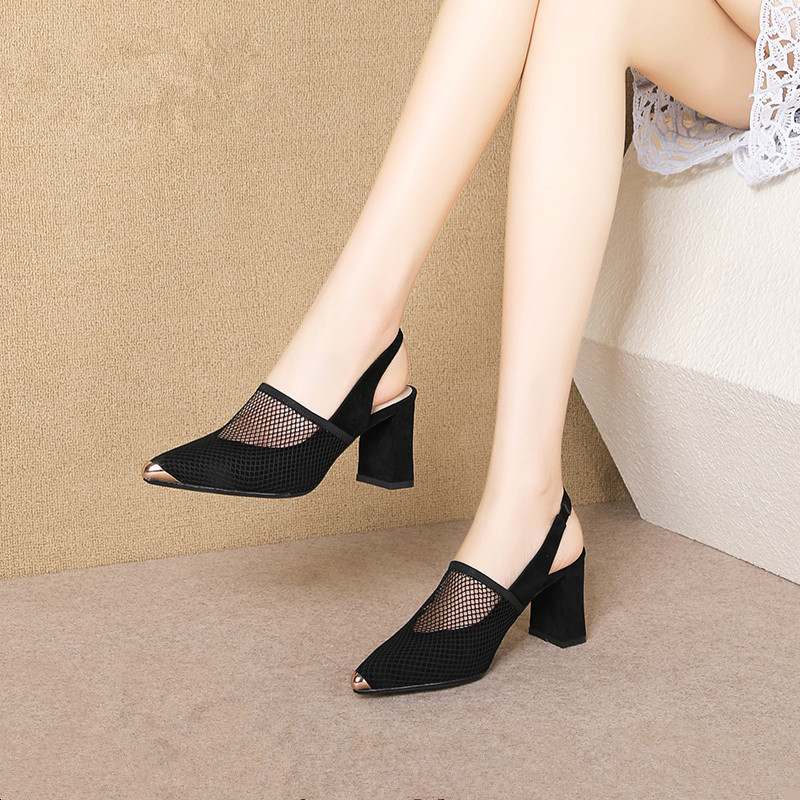 Sandals Women's New Season Metal Pointed Hollowed High Heels Set Foot Grid Thick With Women