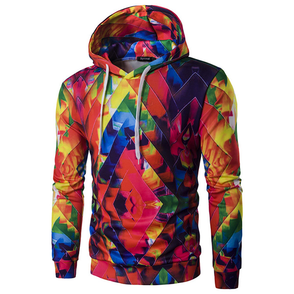 Mens Fashion Colorful Printing Hoodies Casual Slim Fit Sport Sweatshirt