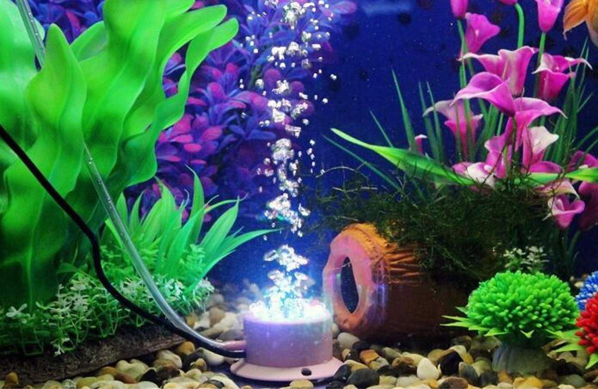 Aquarium fish tank bubble air curtain - Mini Aquarium Colorful Bubble Lamp Led Submersible Light Air Curtain Bubbles Stone Fish Tank Light