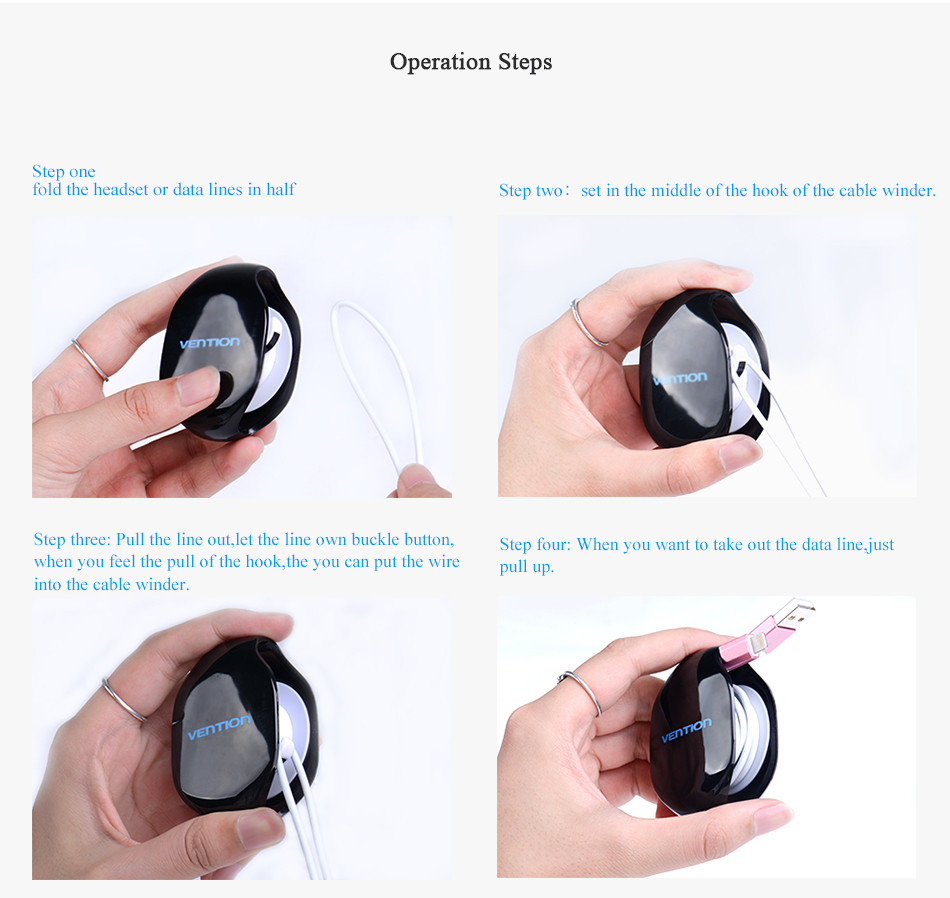Vention Automatic Cable Winder Cord Organizer Protect Holder for Headphone