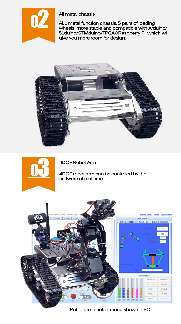 Xiao R DIY Smart Robot Wifi Video Control Tank with Camera Gimbal Compatible with Arduino 2560