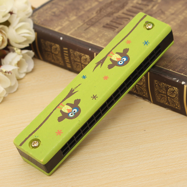 Wooden 16 Hole Harmonica Kids Musical Instrument Mouth Organ Educational Toy - Photo: 1