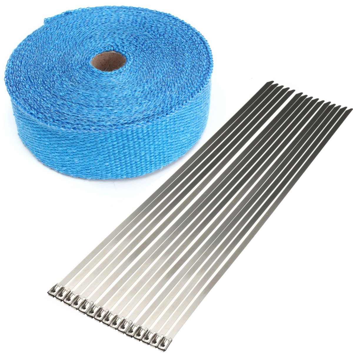 Buy 15m Exhaust Pipe Heat Wrap Manifold Header Insulating Roll Tape with 15 Ties