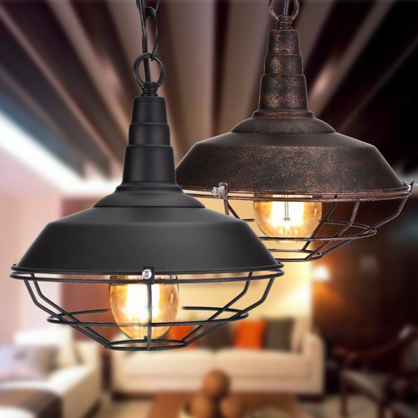luminaire industriel loft bar lampe suspension plafonnier lustre e27 r tro vintage vente. Black Bedroom Furniture Sets. Home Design Ideas