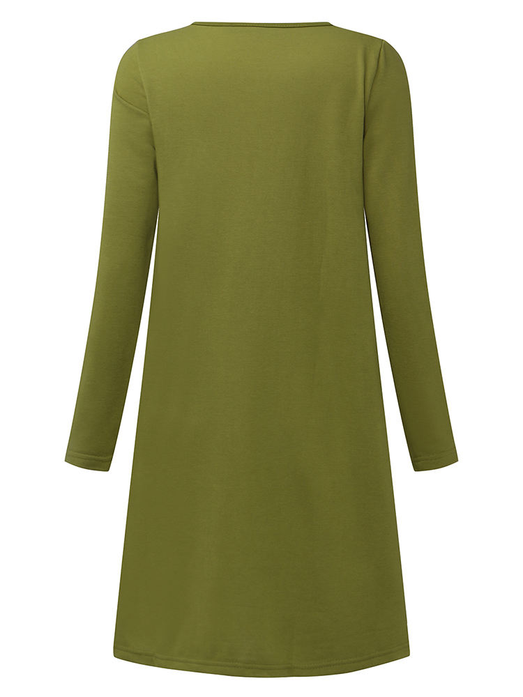 Casual Women Solid Color V-Neck Pocket Long Sleeve Mini Dress