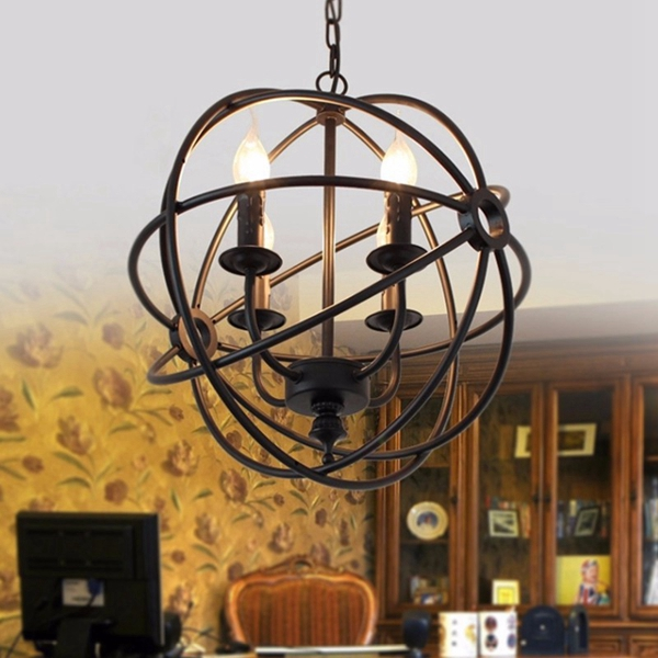 modern industrial chandelier 6 light hanging fixture round ball cage pendant light sale. Black Bedroom Furniture Sets. Home Design Ideas