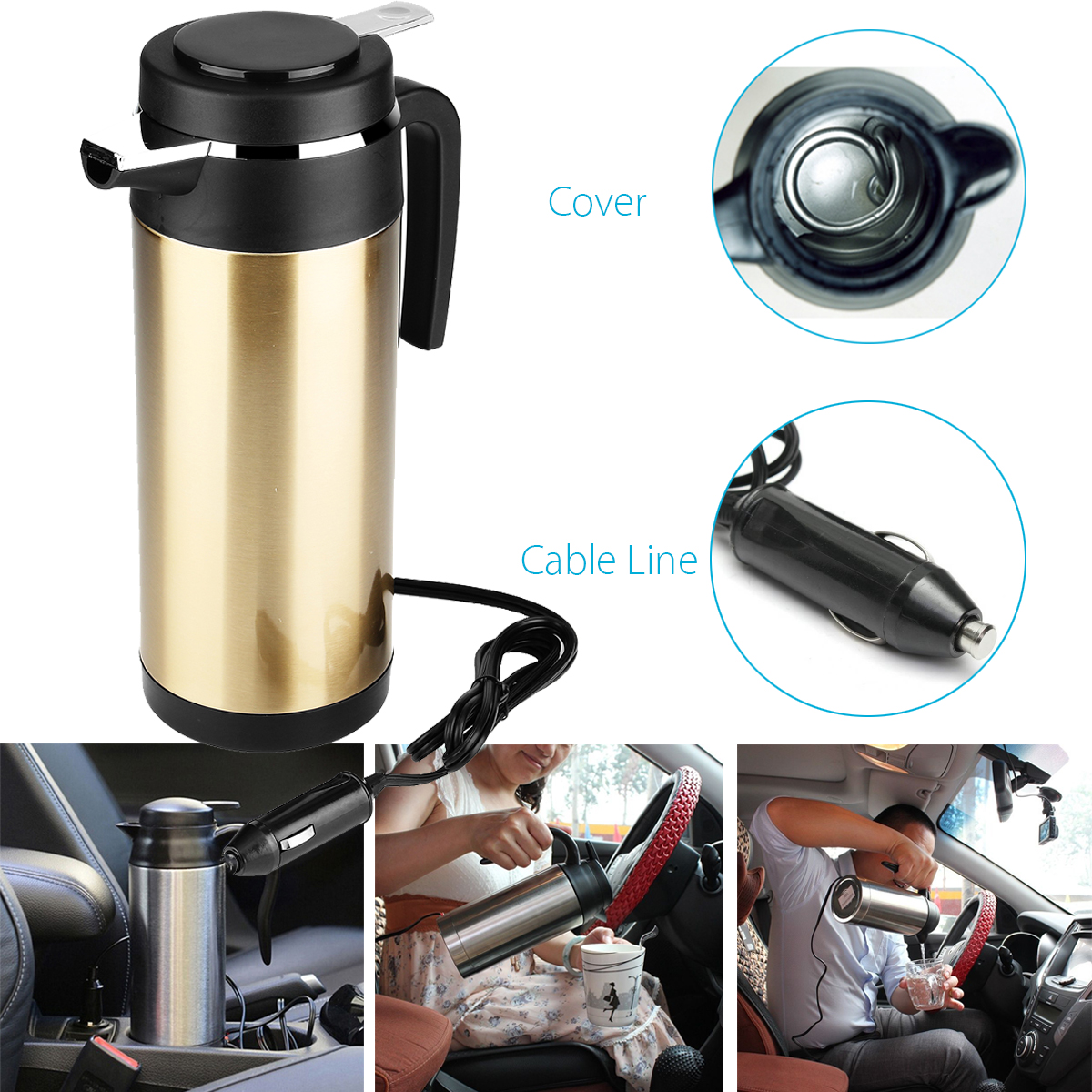 1200ml Stainless Steel 12v Car Adapter Electric Heating