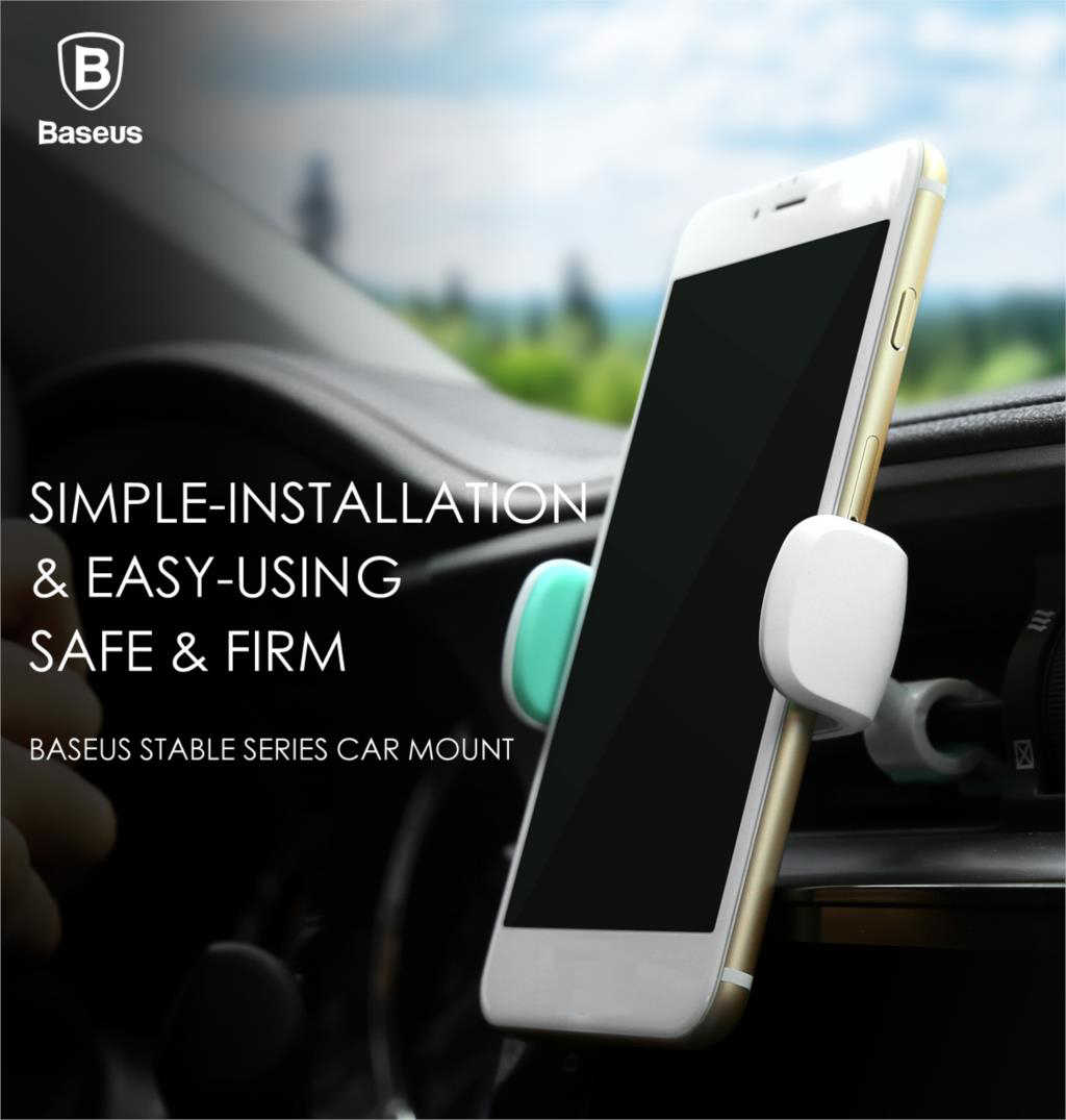 Baseus Stable Series Car Air Vent Mount Clamp 360° Rotation Phone Holder for Phone 3.5-5.5-inch