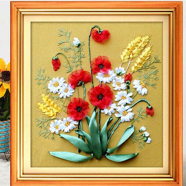 45x45cm 3d Silk Ribbon Beautiful Flower Cross Stitch Kit