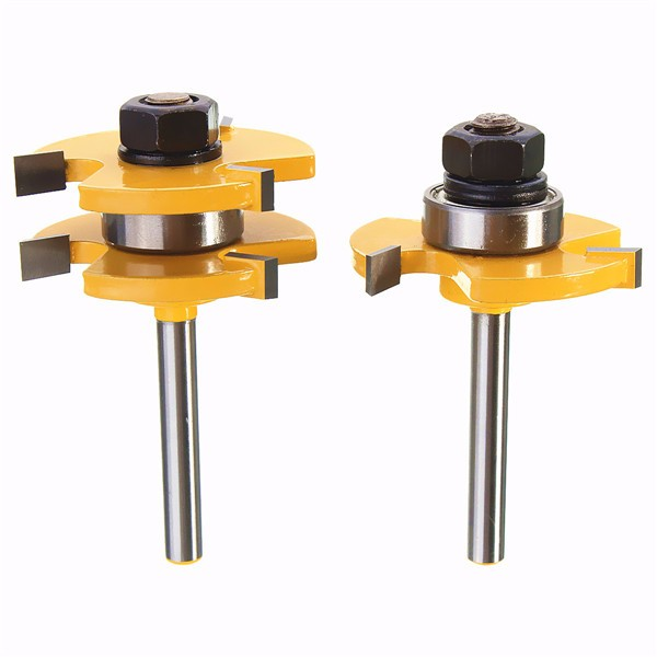 Buy Drillpro RB22 Tongue & Groove Router Bit Set 1/4 Inch Shank 3 Teeth T-shape Wood Milling Cutter