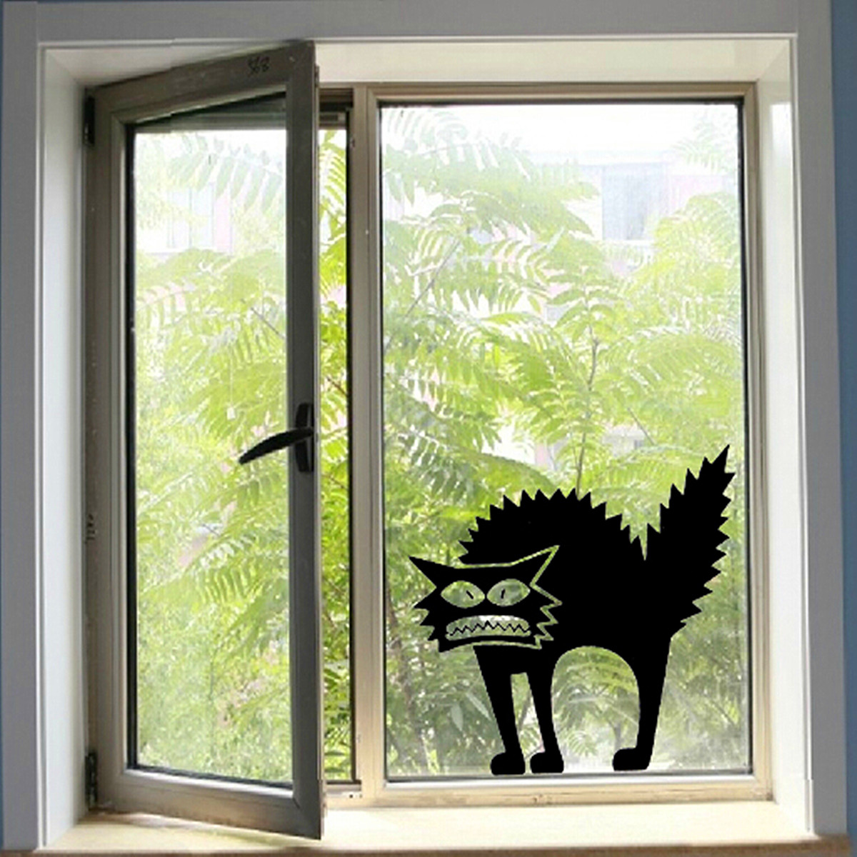 halloween scary spooky black cat wall glass sticker