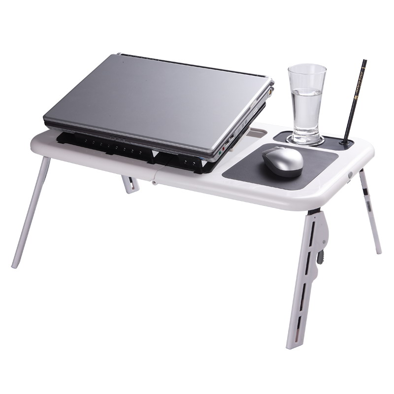 E-table Foldable Laptop Stand Desk with 2 USB Cooling F
