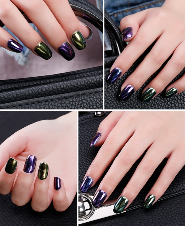 1pc Magic Mirror Chrome Effect Powder Metallic Nail Art Additive Pigment Charming
