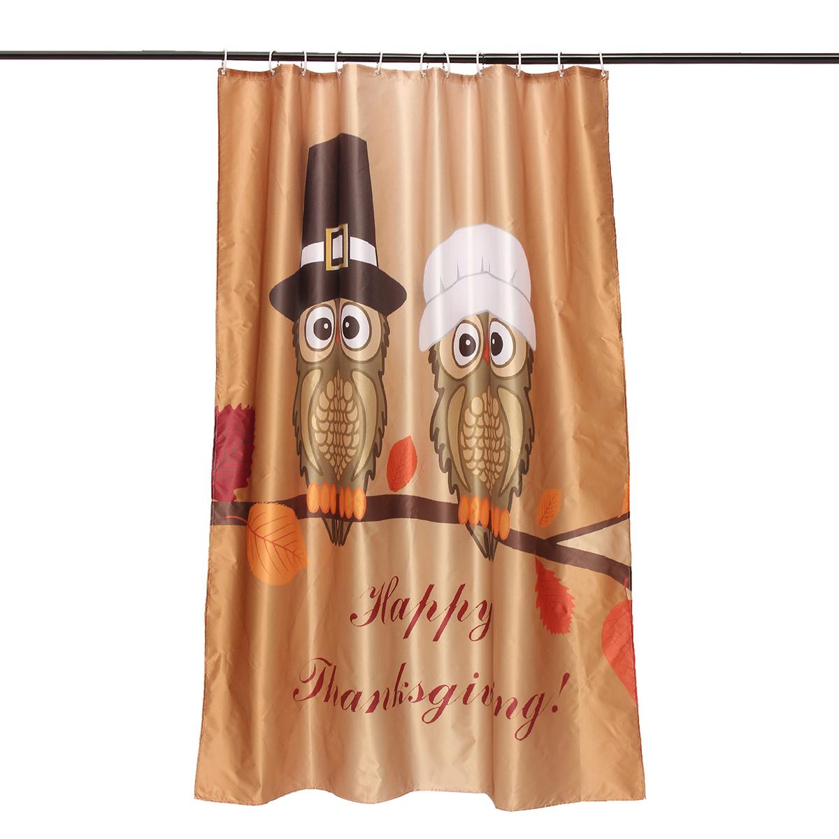 150x180cm счастливым благодарение водонепроницаемый занавес ливня ванной рождества декор с 12 крючками