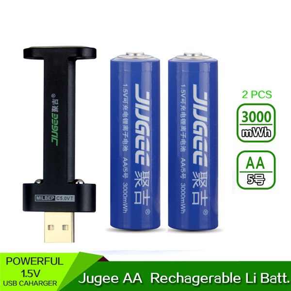 2PCS JUGEE 1.5V 3000mWh Rechargeable Quick Charging AA Battery With USB Charger (Eachine1) Pittsburgh Продажа б у по объявлению
