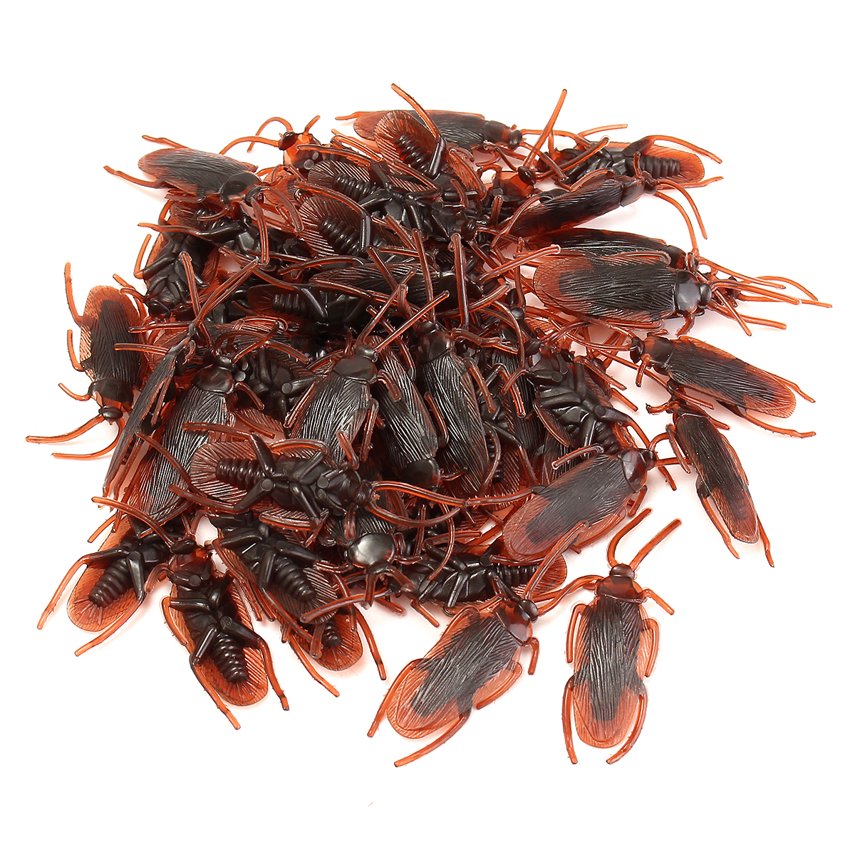 50Pcs Halloween Plastic Cockroaches Rubber Toy Joke Prop Realistic Decoration - Photo: 2