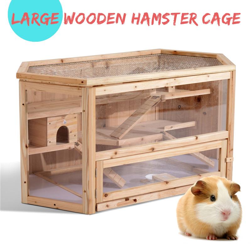 Casa de jaula de madera de hámster de niveles Roedor ratón Juego