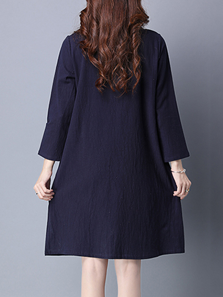 Vintage women solid embroidery long sleeve loose dress at