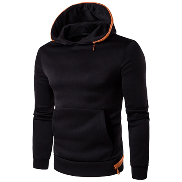 Mens Casual Solid Color Hoodies Sweatshirt Big Pocket Slim Fit Pullover Sweatshirt