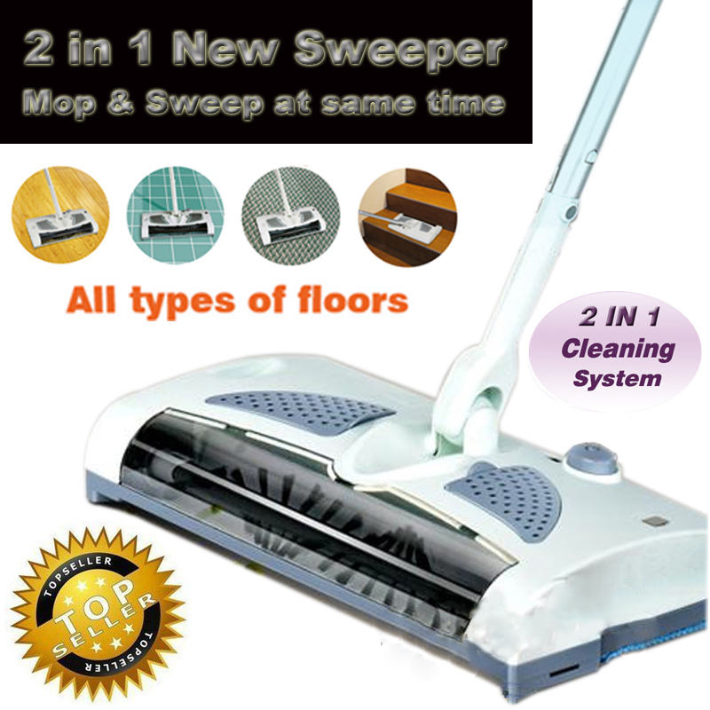 Buy 2 In 1 Cordless Electric Sweeper And Mop Rechargeable battery Rotary Rod 360 Degree For Carp