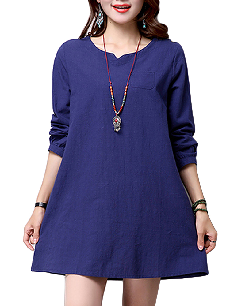 d5fefdb4e8d73 Vintage Elegant Women Brief V Neck Straight Cotton Linen Mini Dress ...