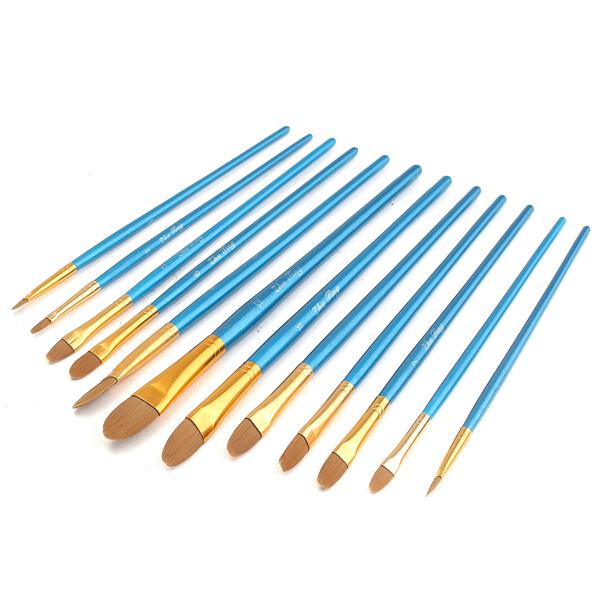 12 Pcs Nylon Hair Acrylic Watercolor Round Pointed Tip Artists Paint Brush Set (Eachine1) Gainesville Покупка б у