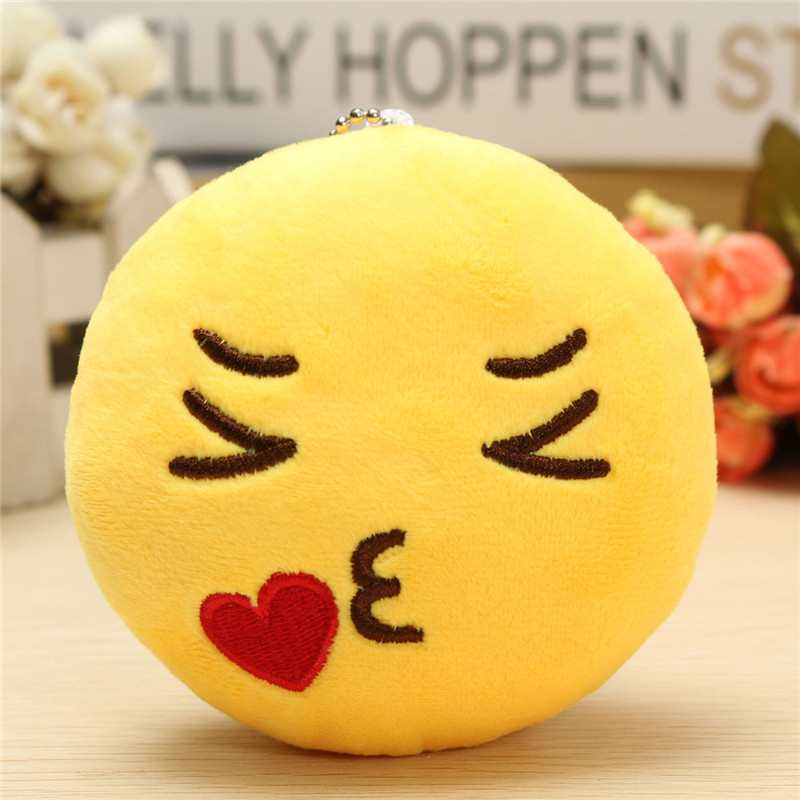 4inch 10cm Smiley Emoticon Round Emoji Ornament Stuffed Plush Soft Toy Pendant - Photo: 4