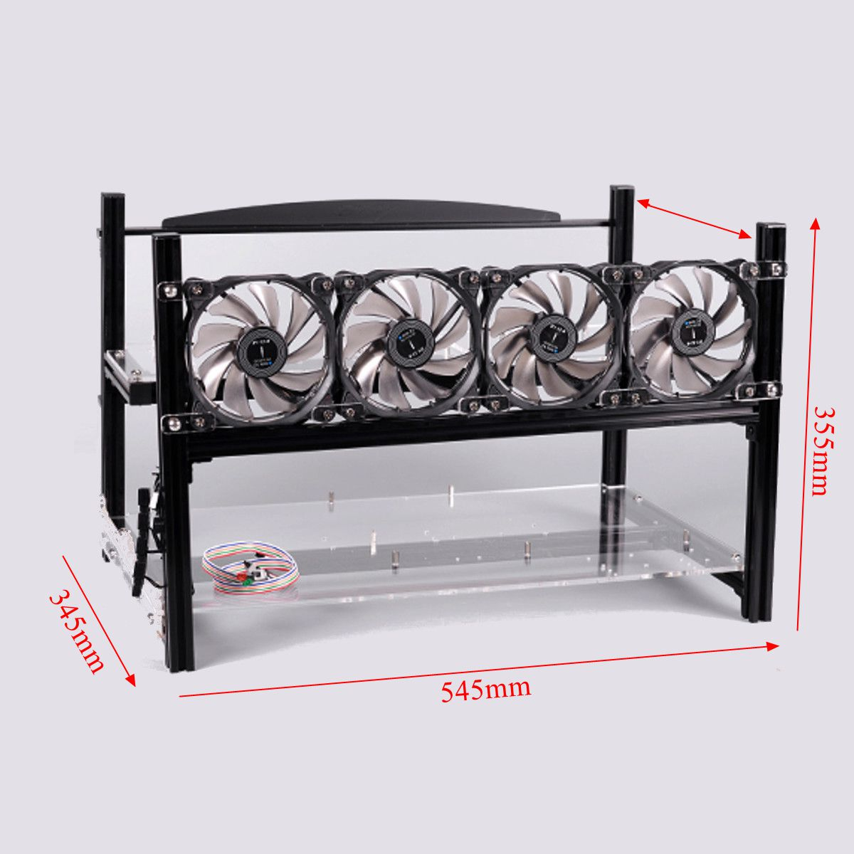 6 GPU Mining Frame Case with 4 fans