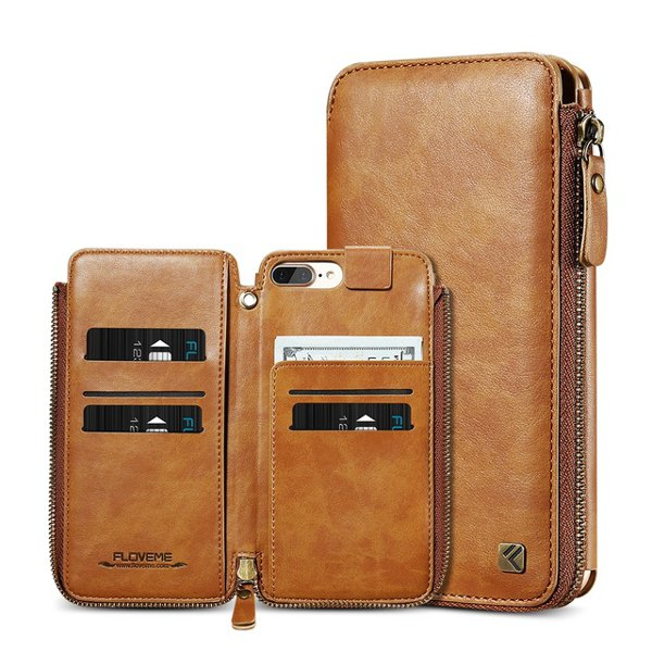 Floveme Vintage PU Leather Zipper Wallet Card Slots Case With Hand Strap For iPhone 7/7 Plus