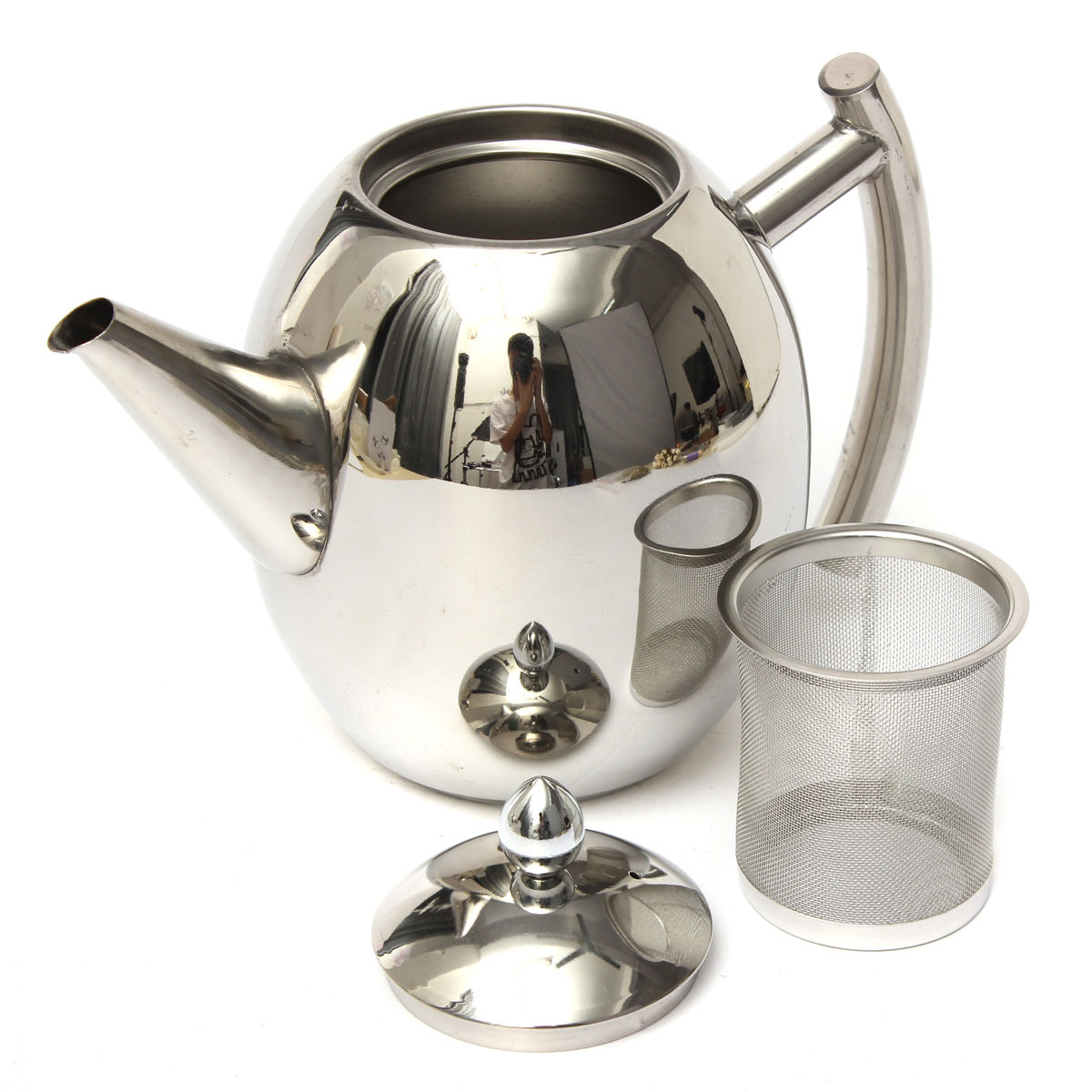 1000ml Stainless Steel Tea Coffee Pot Kettle With Strainer