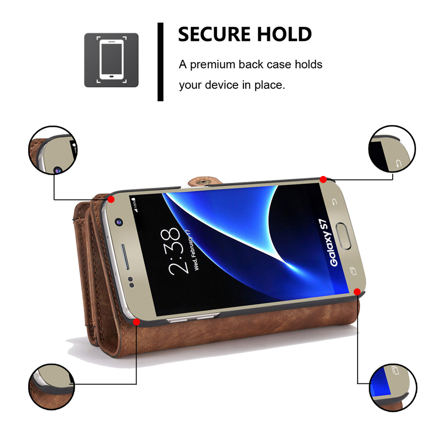 CaseMe Removable Functional PU Zipper Wallet Card Case Cover For Samsung Galaxy S7