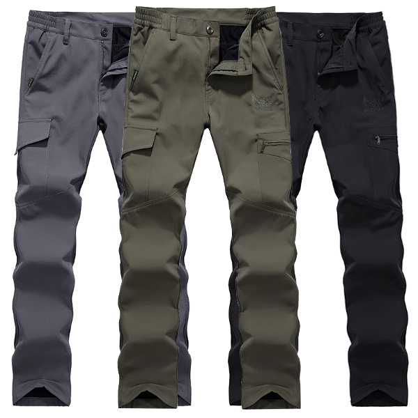Mens Outdoor Thick Fleece Quick-drying Pants Casual Multi-pocket Sport Loose Pants