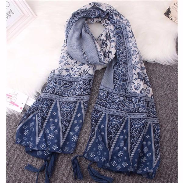 Women Lades Pashmina Blue Totem Tassel Cotton Blend Scarves Soft Wrap Shawl Long Voile Stole
