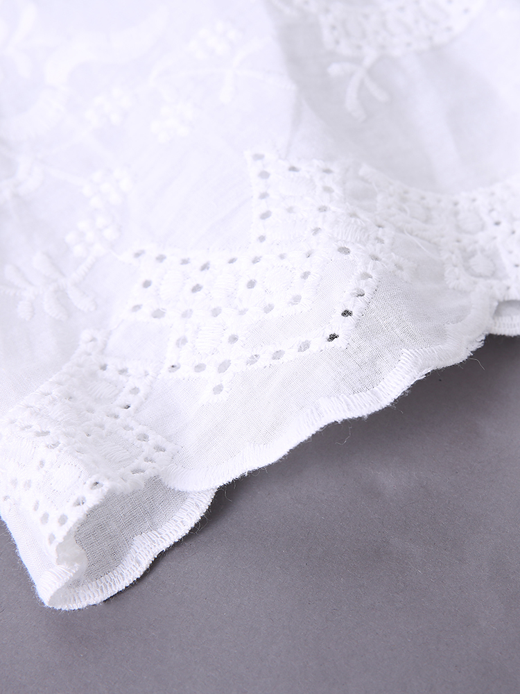 White Sexy Women Lace Crochet Patchwork V-Neck Embroidered Blouses