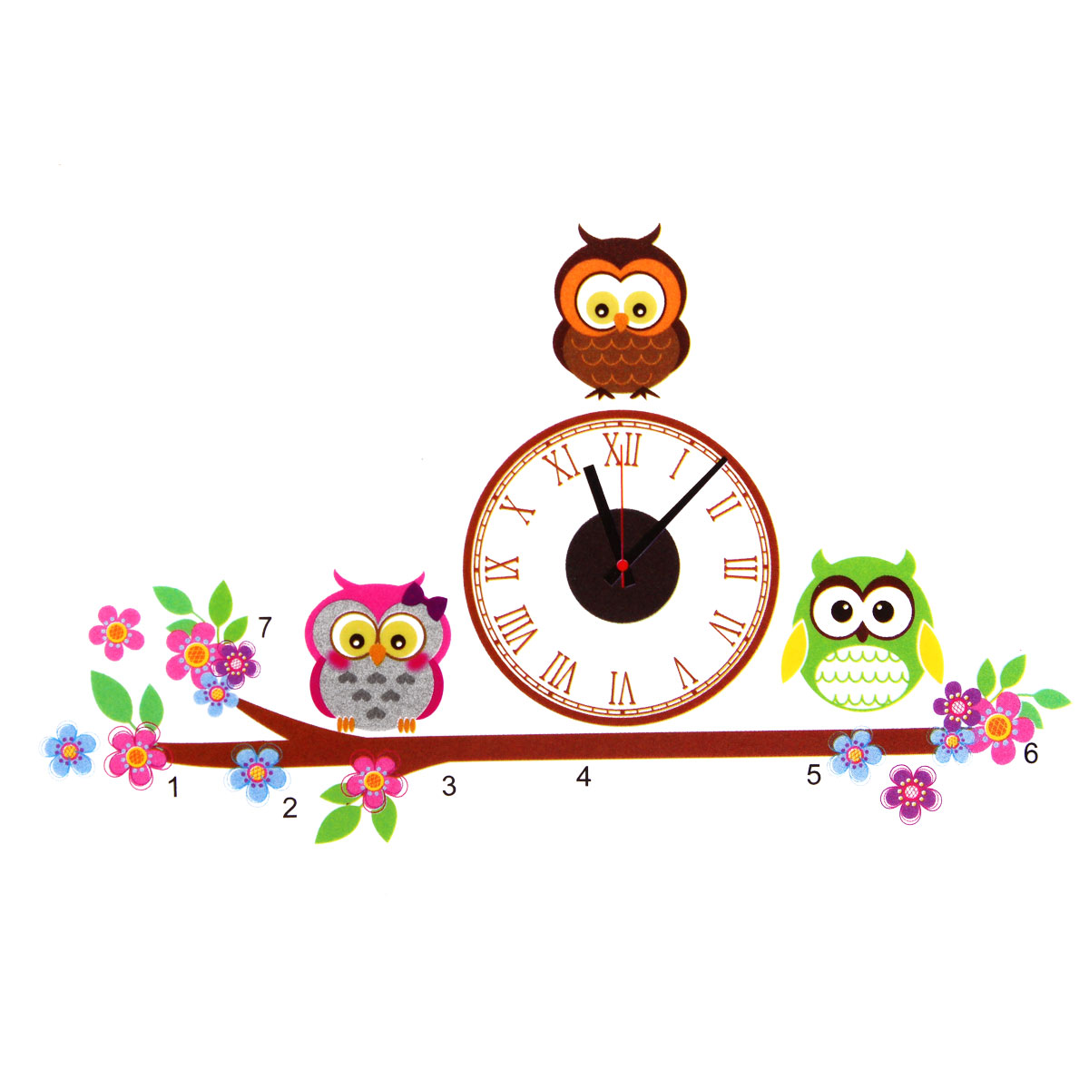 Buy Owl DIY PVC Art Adhensive Wall Clock Home Living Room Bedroom Modern Decor Decal Stickers