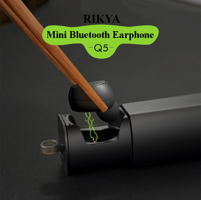 RIKYA Q5 Integrated Charger Storage Box Portable Sport IPX4 Waterproof Voice Prompt V4.1 Bluetooth Earphone