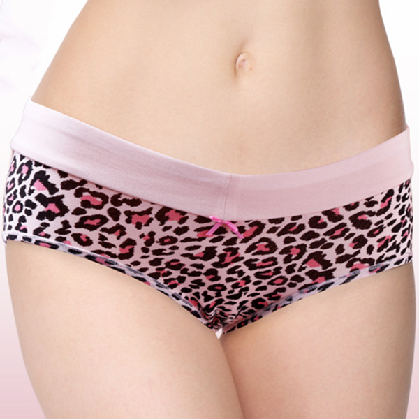 Sexy Comfortable Soft Modal Bow Leopard Mid Waist Breathable Panties Underwear