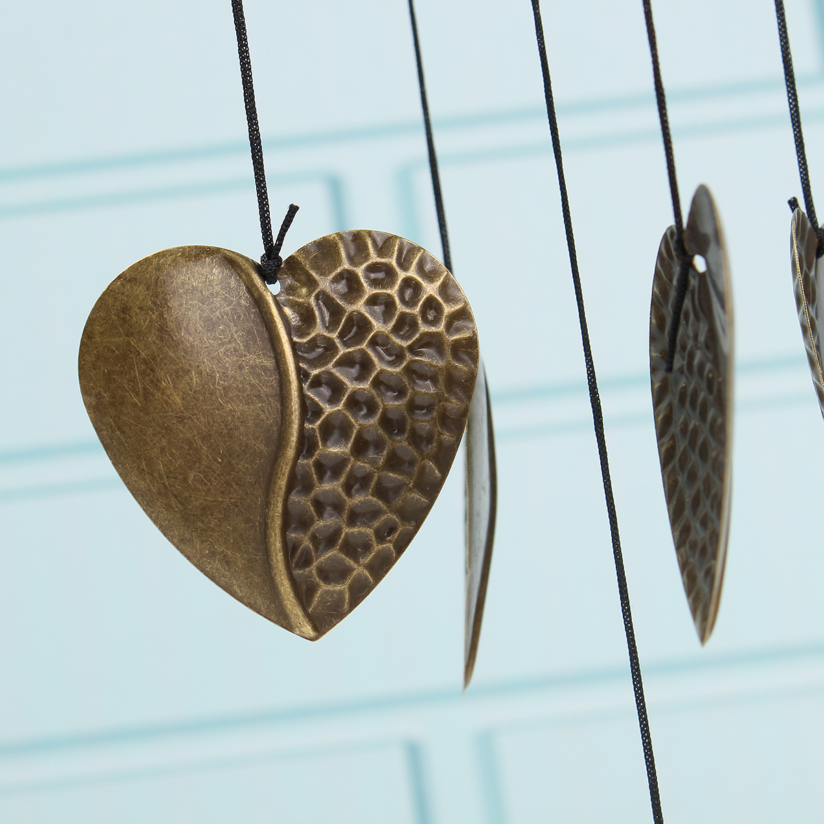 Heart decor wind chimes wind bell metal 8 tubes hanging for Hanging garden ornaments