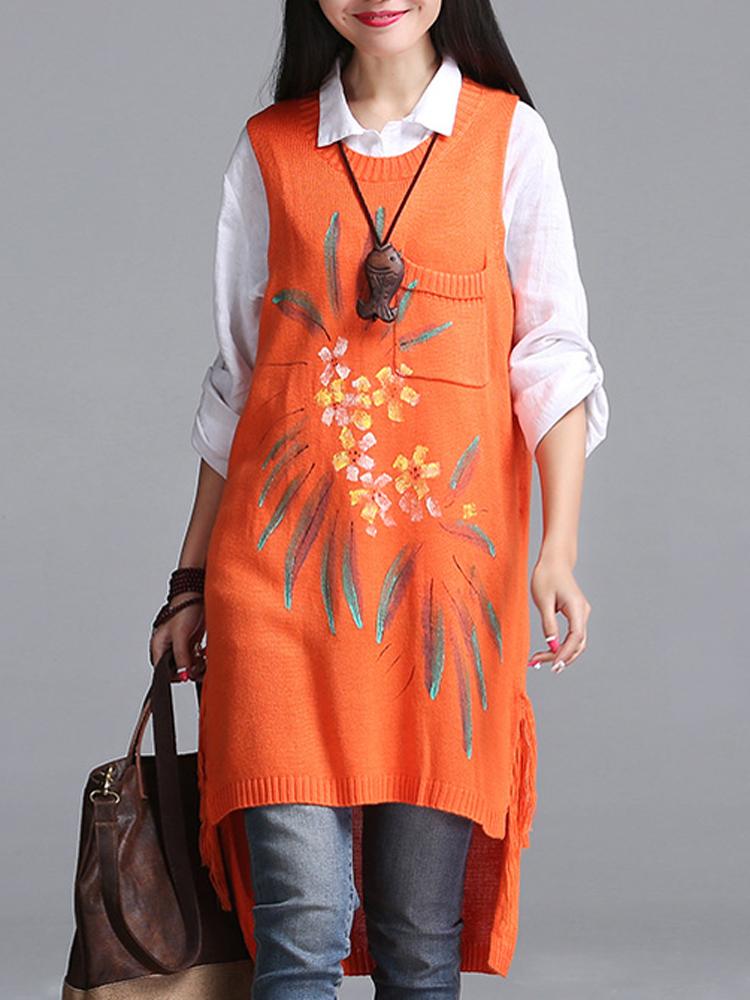 Women Vintage Folk Style Sleeveless Sweater Knitted Printing Dress
