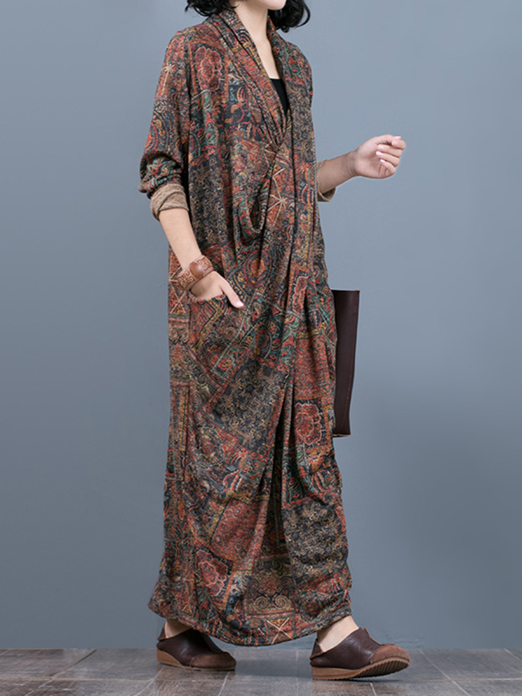 Printed V-Neck Cross Front Long Sleeve Pocket Knit Maxi Dress For Women