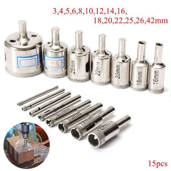 15pcs 3-42mm Diamond Hole Saw Drill Bit Set Tile Ceramic Glass Porcelain Marble Drill Bits
