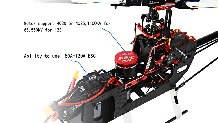 XLPower 550 XL550 6CH FBL RC Helicopter Kit with 1100KV 4020 Motor