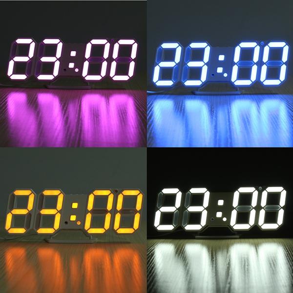 3D LED Digital Wall Clock Alarm Clock USB Stereo Clock