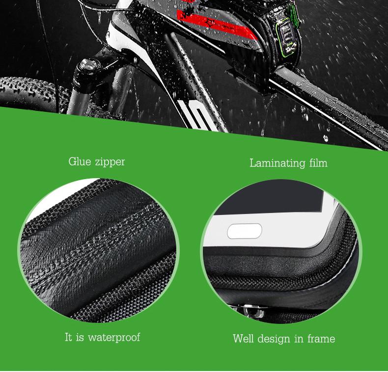 ROCKBROS ciclismo bicicleta impermeável Beam saco de tela toque frente moldura bolsa para telefone de 6 polegadas ou menos