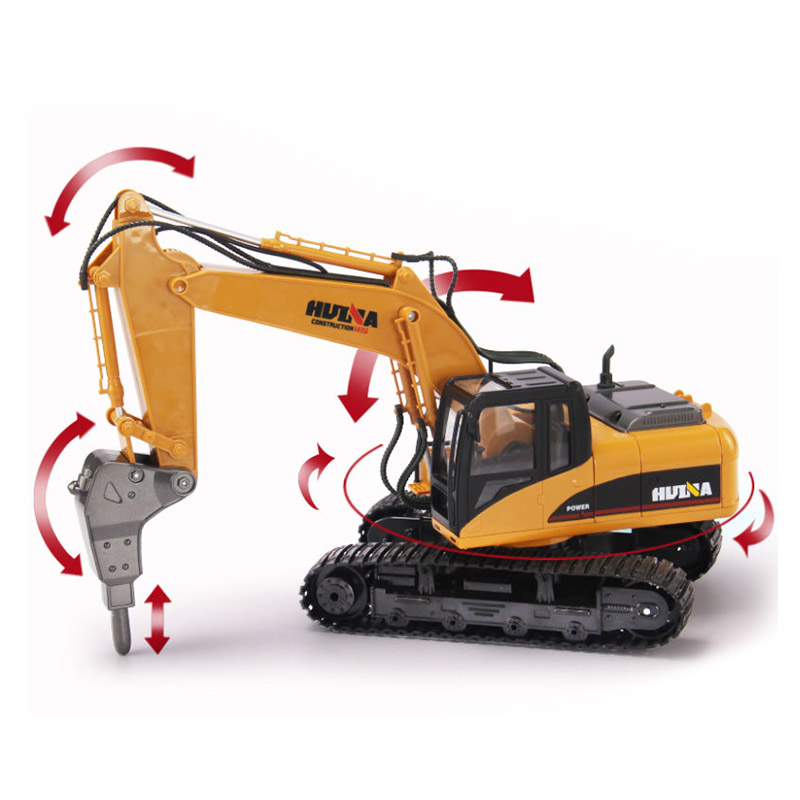 HuiNa 560 2.4G 1/12 16 Channels Metal RC Excavator Broken Disassemble Charging RC Car Model Toys - Photo: 1