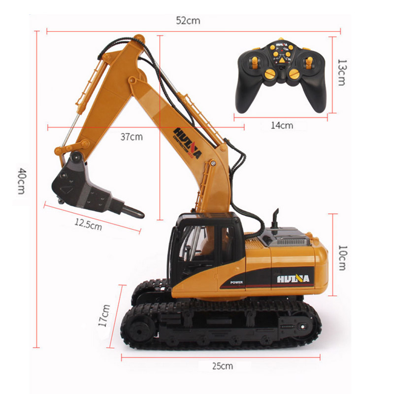 HuiNa 560 2.4G 1/12 16 Channels Metal RC Excavator Broken Disassemble Charging RC Car Model Toys - Photo: 5