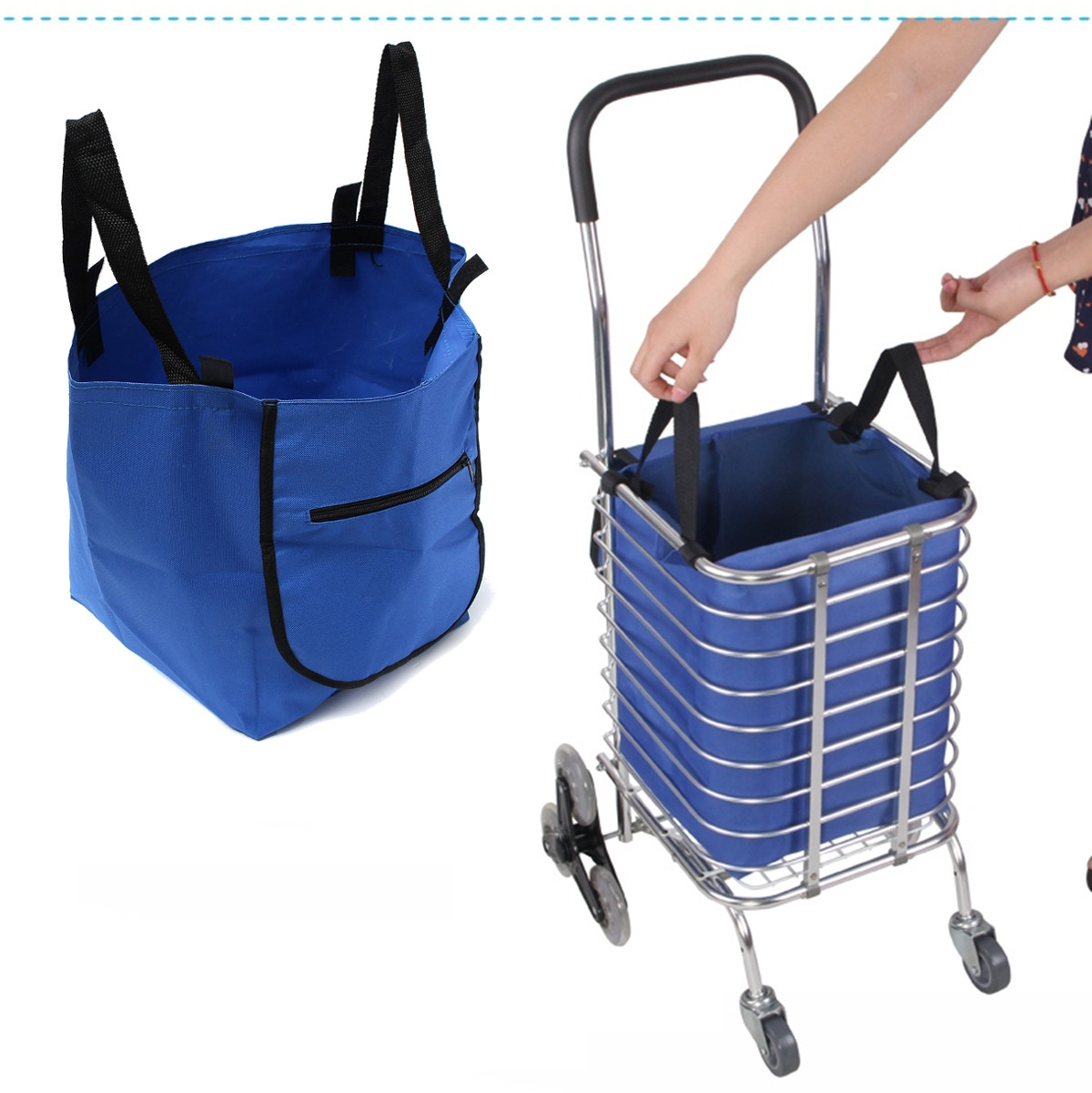 Buy Supermarket Trolley Shopping Organizer Tote Eco Grocery Extend Cart Clips Reusable Foldable Handbag